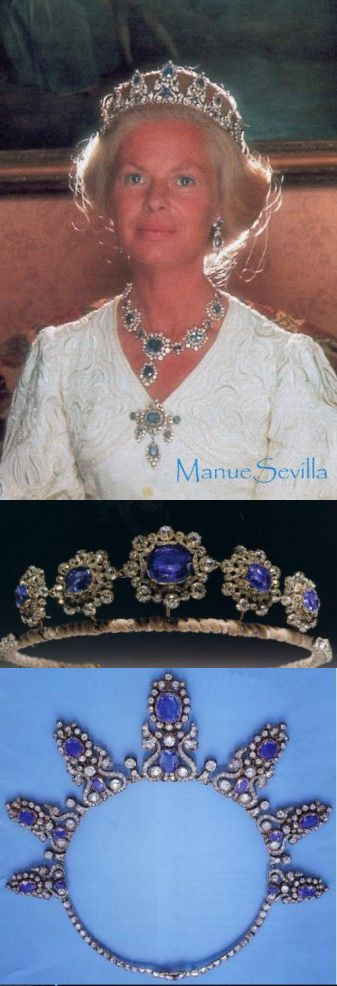 Kent Cambridge Sapphire Parure. //    TOP: Duchess of Kent wearing the parure - high profile tiara, earrings, necklace //    MIDDLE: low profile Cambridge Sapphire tiara created from medallions of the necklace  //    LOWER : high profile tiara in necklace form.