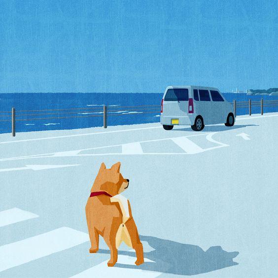 海と車とおしゃれでかっこいい犬の壁紙