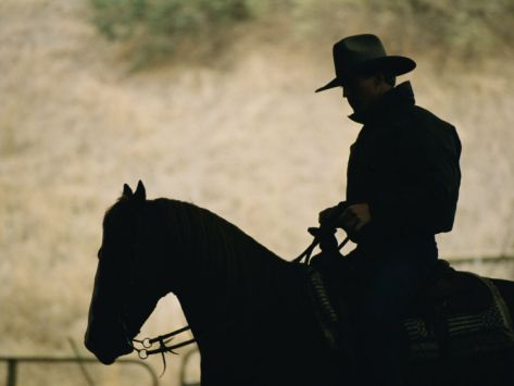 the rancher riding the range.