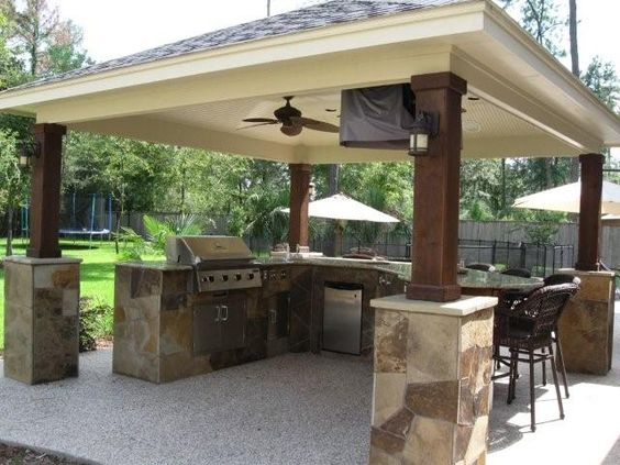 Designs outdoor patio bbq smoker kitchen design island for Deck kitchen ideas