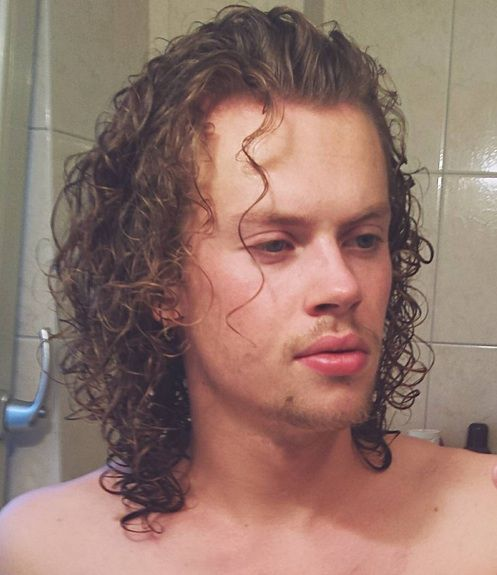 Image Result For Mens Curly Hair Slicked Back Ponytail Slick Hairstyles Long Hair Styles Men Long Hair Styles