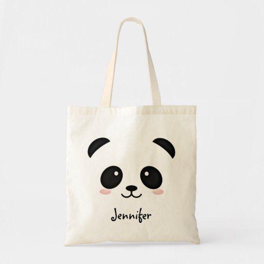 Kawaii Panda Bear Personalised Tote Bag