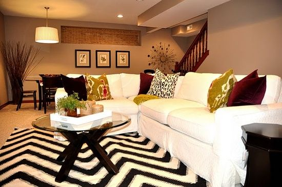 so cute love the decor of this living room fun chevron rug