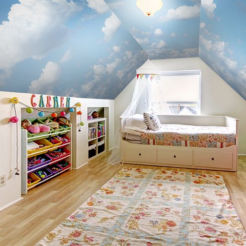 Cloud ceiling mural by murals your way girl room ideas for Ceiling mural in smokers lounge