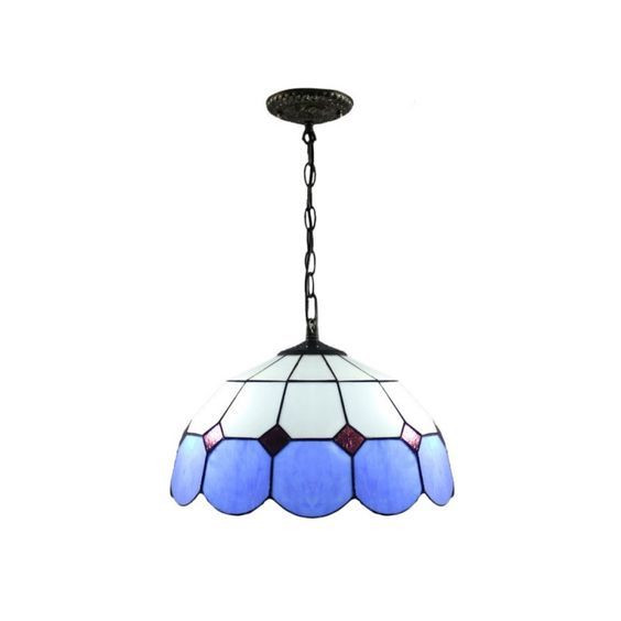 Tiffany Style Stained Glass Blue Trimmed Mediterranean Pendant light