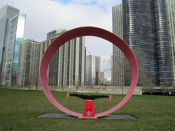 Travel Yoga Around the World - Headstand Sirsasana, Chicago