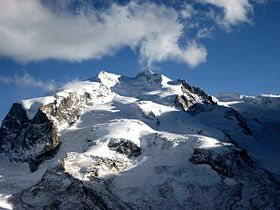 Dufourspitze on MonteRosa is the highest point in Switzerland at 15,203 ft (4,634 m) and it's the 7th most prominent peak in the Alps at 7,103 ft (2,165 m).