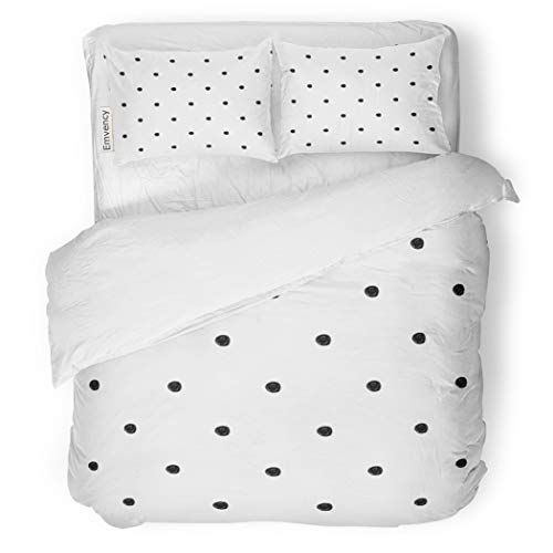 Sanchic Duvet Cover Set Abstract Polka Dot Pattern Cute Messy Black Decorative Bedding Set With 2 Pillow Shams Full Quee Duvet Cover Sets Bed Decor Bedding Set