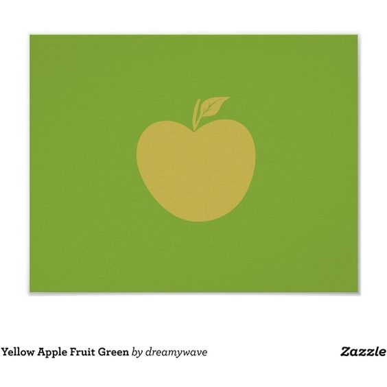 Yellow Apple Fruit Green Poster featuring polyvore, home, home decor, wall art, paper wall art, yellow home accessories, fruit wall art, yellow home decor and framed posters