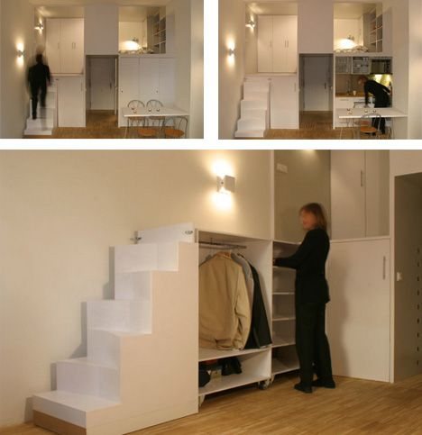 Hidden storage small apartments and apartments on pinterest for Studio apartment storage ideas