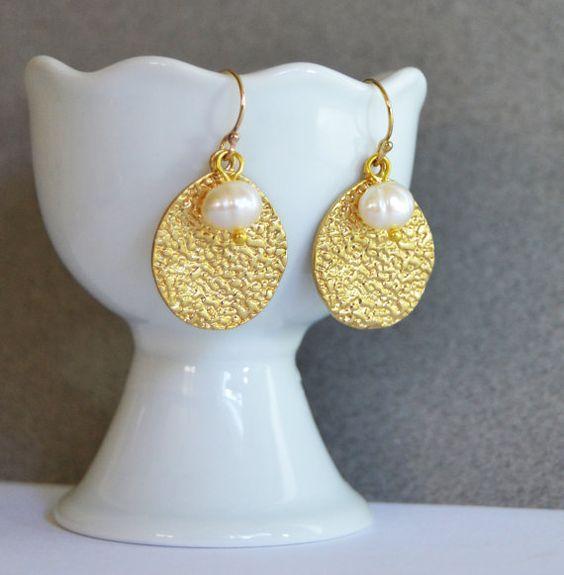 Gold Disc Earrings Hammered Gold Earrings Flat Disc by Studio10102