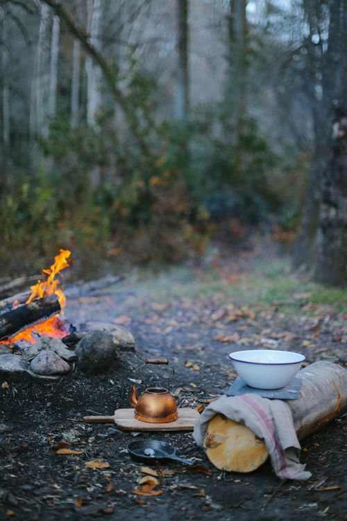 Campfire breakfast for two.: