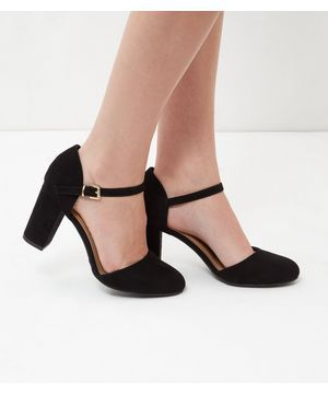 Wide Fit Black Suedette Ankle Strap Block Heels | Shops Galleries
