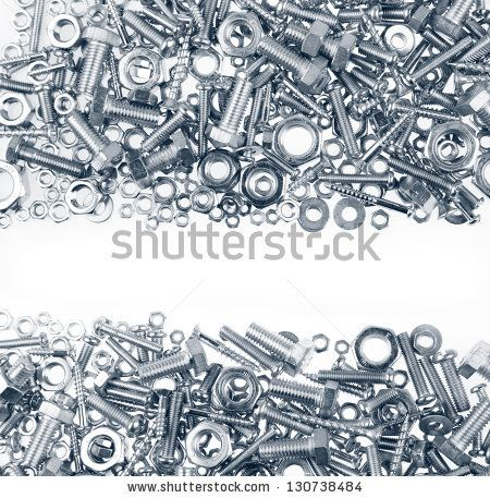 Chrome nuts and bolts closeup on plain background by STILLFX, via Shutterstock