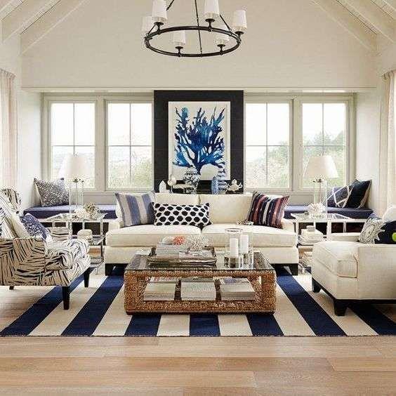 Arredamento bianco e blu estate 2016 - Tessuti per soggiorno bianchi e blu