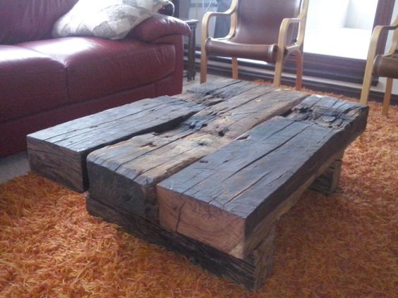 Mesa de durmientes mesa living pinterest mesas - Vigas de tren ...