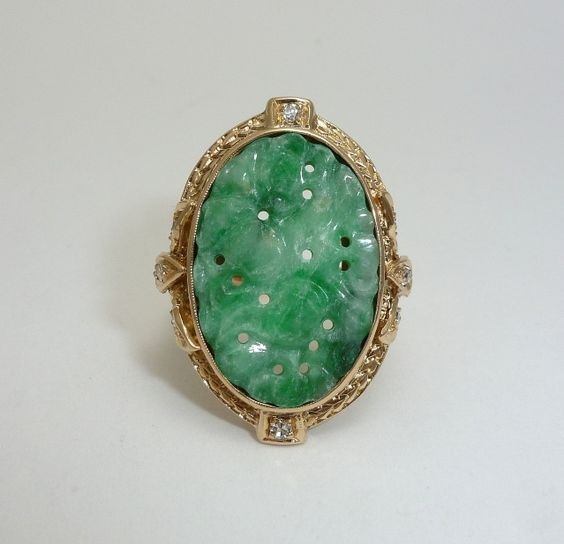 Exceptional Art Deco Carved  Type A Jade & Diamond Ring