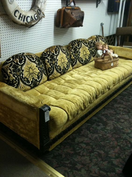 Soo 70s Mediterranean sofa!  Matching chairs too!   Mall 3 booth 709 www.voloshopping.com.  Volo, IL