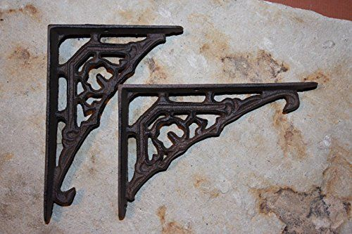 """4 SMALL BROWN ANTIQUE-STYLE 5.5/"""" SHELF BRACKETS RUSTIC CAST IRON-CURVED ARCH"""