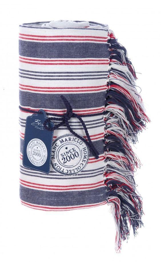 Coperta cotone 180x260 a righe rosse, blu e bianche Blanc MariClò - TRAPUNTE E PLAIDS - TESSILE