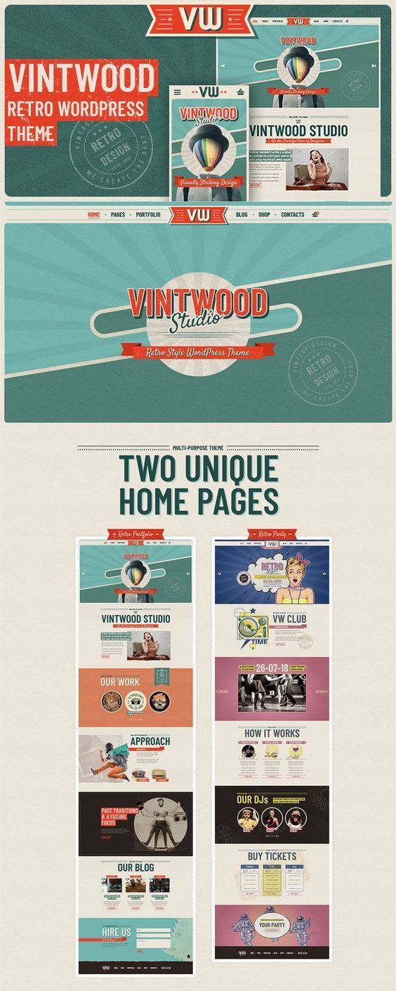 Vintwood Retro Portfolio Wordpress Theme A Handcrafted Vintage Style Website Template To Create A Wordpress Theme Wordpress Theme Portfolio Web Inspiration