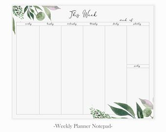 Minimalist Weekly To Do Notepad Mousepad Planner Notepad Minimalist Weekly Desk Notepad Weekly Planner Notepad