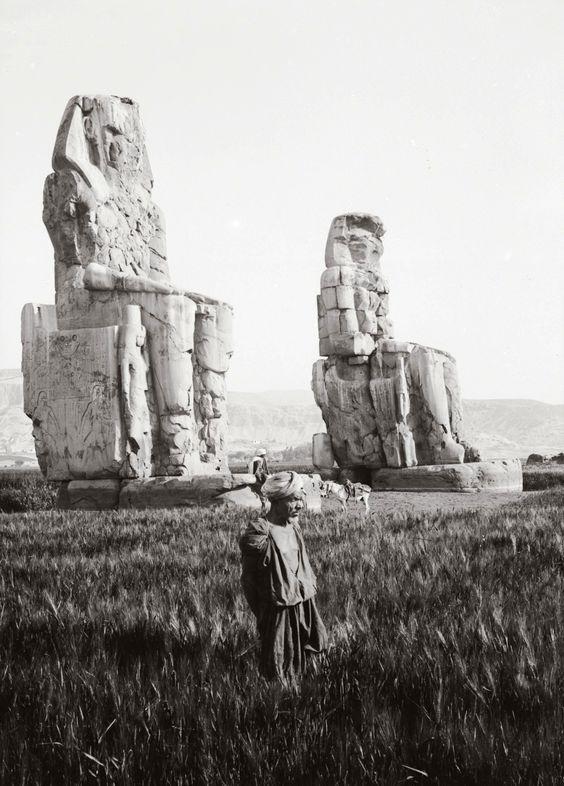 """archaeoart: """"The Colossi of Memnon, near Luxor, Egypt, date unknown. """" …"""