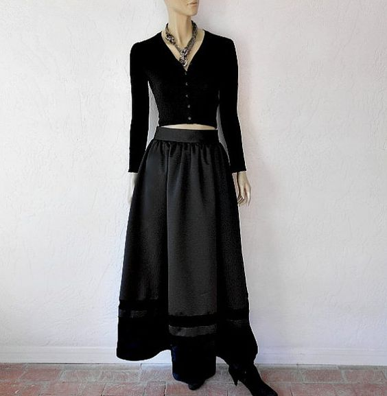 Vintage Evening Skirt 80's Oleg Cassini Black by luvofvintage, $58.00