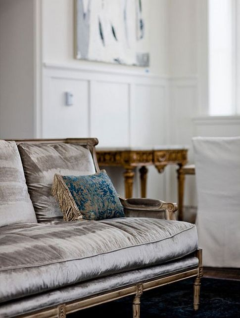 Silvery velvet settee at the Washington School House Hotel, via This is Glamorous
