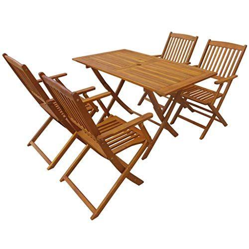 Tidyard Garten Essgruppe 5 Tlg Akazie Massivholz Tisch Und Stuhl