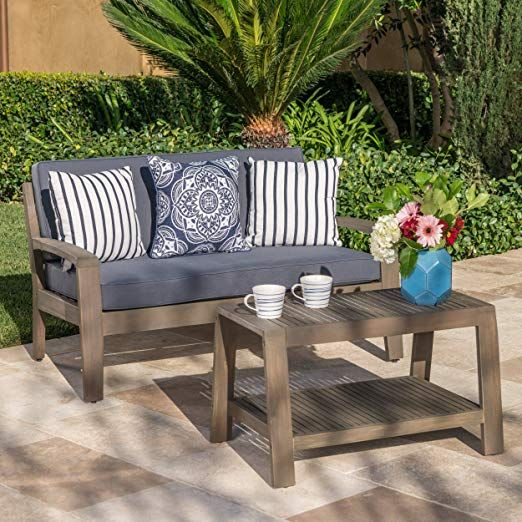 Acacia Wood Loveseat And Coffee Table Set With Dark Grey Water