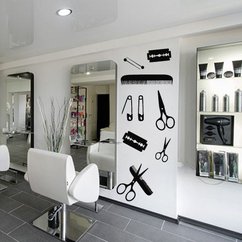 Wall decal decor decals sticker art hair salon by - Stickers deco salon ...