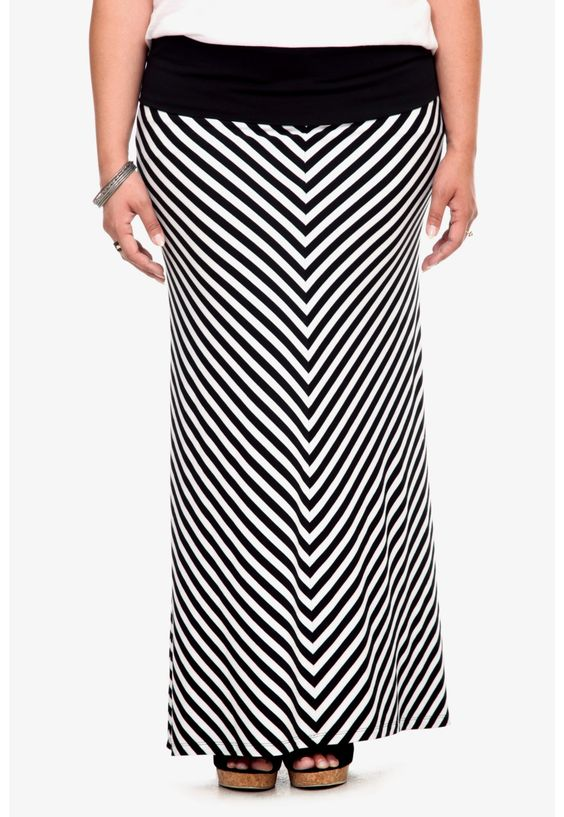 black white mitered striped maxi skirt plus size