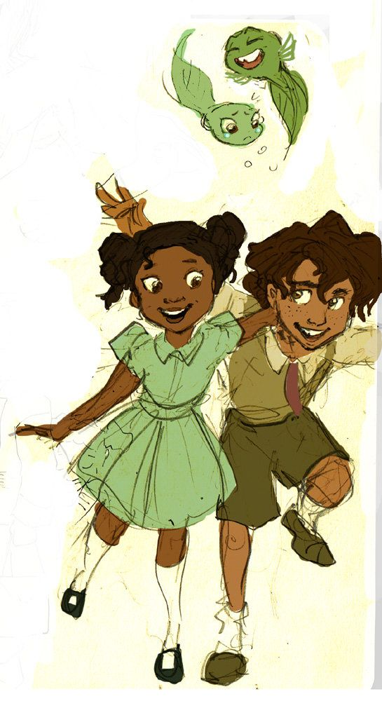 Tiana and Naveen as Kids... I love how it also has them as tadpoles! :D