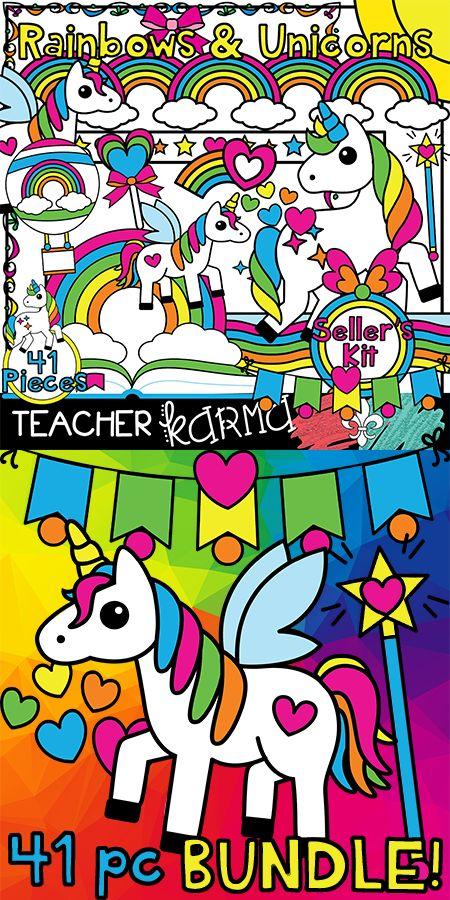 Rainbows & Unicorns clipart BUNDLE!  Perfect for students, classrooms, and Teachers Pay Teachers sellers.  TeacherKarma.com