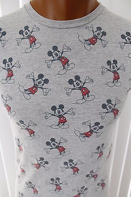 WALT-DISNEY-MICKEY-MOUSE-ALL-OVER-PRINT-Mens-Gray-Graphic-T-Shirt-Size-S