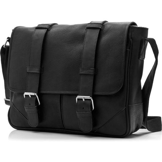 Muiska Dublin Handmade Vaquetta Leather 15-inch Laptop Messenger Bag (£155) ❤ liked on Polyvore featuring bags, messenger bags, purses, black, long strap shoulder bag, courier bag, leather bags, top handle bag and flap messenger bag