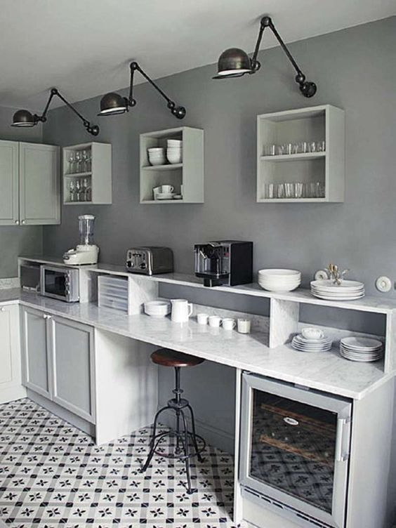 Cuisine d co de cuisine and d co on pinterest for Deco cuisine gris plan de travail ardoise