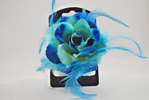 -Turquoise Blue Flower Coursage Hair Elastic