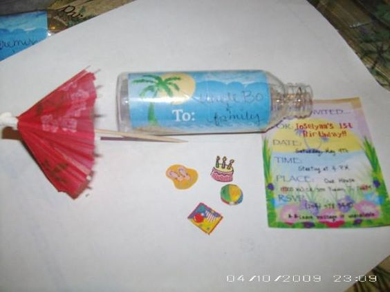 Homemade message in a bottle birthday invitationsinstead of – Message in a Bottle Birthday Invitations
