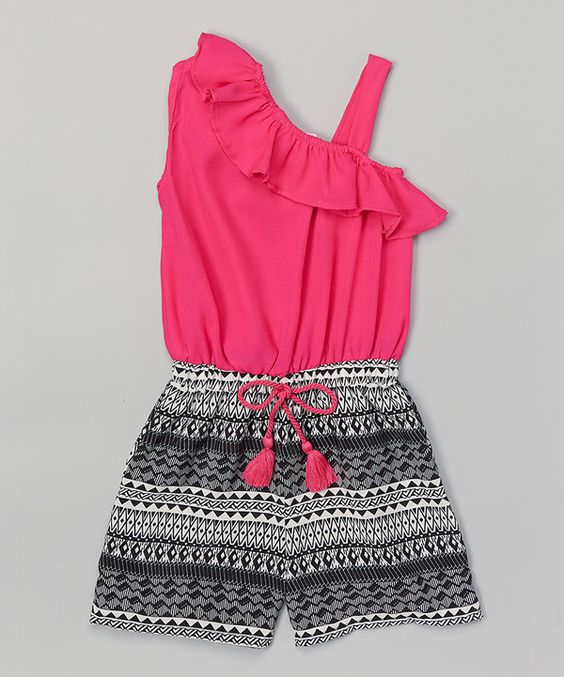Look at this Girls Luv Pink Fuchsia Tribal Ruffle Asymmetrical Romper - Girls on #zulily today!