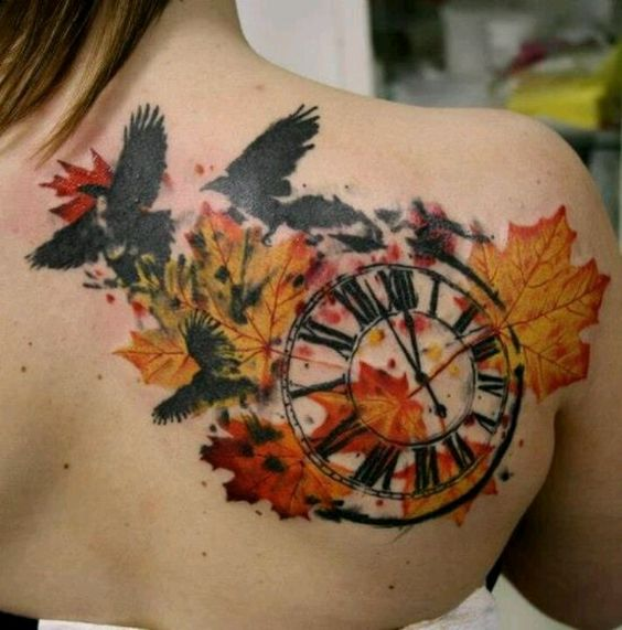 autumn leaves rustic clock and crow tattoo design tattoos pinterest design compass and. Black Bedroom Furniture Sets. Home Design Ideas