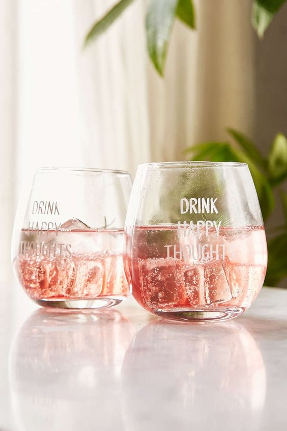 drink happy thoughts' stemless wine glasses
