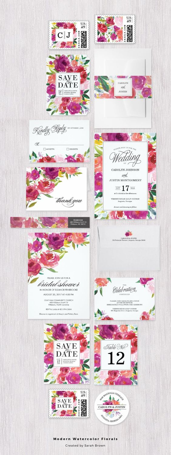 Modern watercolor flowers in vivid pinks and raspberry colors   floral wedding invitation set