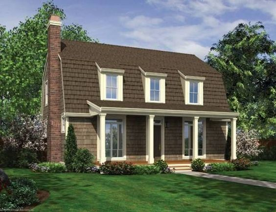 Gambrel roof with dormers and front porch for Small gambrel house plans
