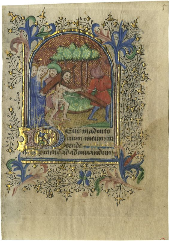 """Horae B.M.V 1350 Illuminated Manuscript Leaf- Christ Carrying His Cross also picturing a Roman guard, His Mother Mary and two others. A miniature from a Book of Hours, France, 1440, manuscript on vellum, Latin text, 3"""" x 4.25"""". Arch-topped framed scene with decorative border burnished in gold, and a three-line illuminated initial also burnished in gold."""