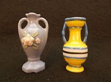 Miniature Vases 2 Hand Painted Occupied Japan one is H.Kato Wall Vase