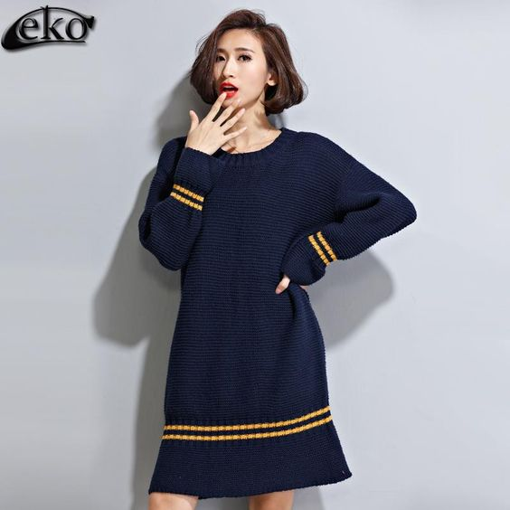 Oversized Sweater Autumn Winter Sweaters Women Knitwear Long Sleeve Big Size Long Pullover Loose Casual Women Sweater Dress Autumn