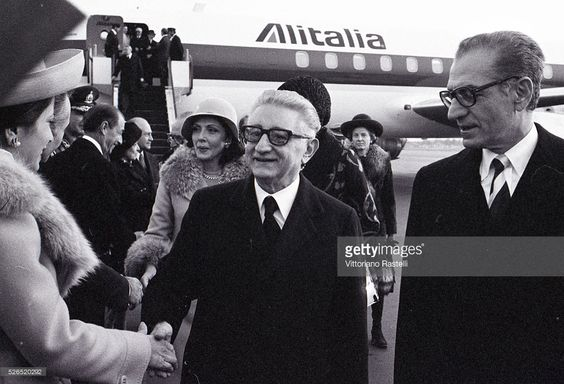 President of Italy Giovanni Leone with wife Vittoria are welcome in Tehran by Mohammad Reza Pahlavi, the Shah of Iran, and his wife Empress Farah.