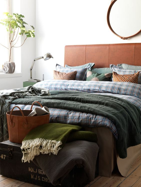 slaapkamer groen en bruin